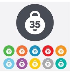 Weight sign icon 35 kilogram kg sport symbol vector