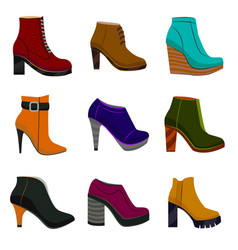woman colorful shoes in cartoon style vector image