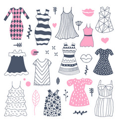 woman fashion hand drawn dresses doodle vector image vector image