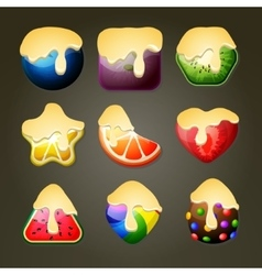 Fruit candies for match three puzzle game with vector