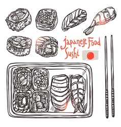 Sushi sketch set japanese hand drawn food vector