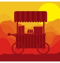 Sunset background hot dogs food truck vector