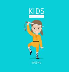 kids martial arts wushu girl vector image
