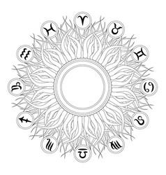 black and white mandala zodiac symbols vector image