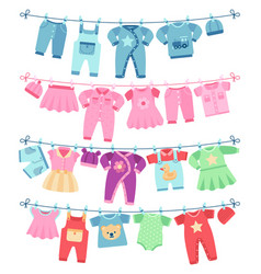 Baby clothes drying on clothesline vector