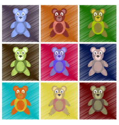 Assembly flat shading style icons toy bear vector