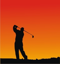 Golf player silhouettes vector