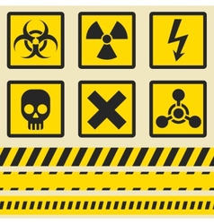 Warning signs symbols seamless tape vector