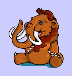 Smiling sitting mammoth vector