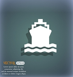 Ship icon symbol on the blue-green abstract vector