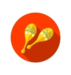 Maracas flat icon with long shadow vector