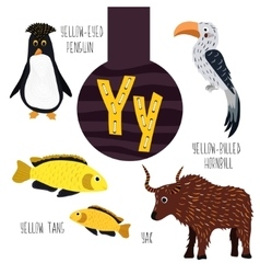 Fun animal letters of the alphabet for the vector
