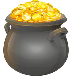 Pot of gold coins full cauldron of gold vector