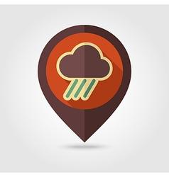 Rain Cloud flat pin map icon Downpour rainfall vector image