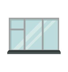 Window open interior frame glass construction vector image