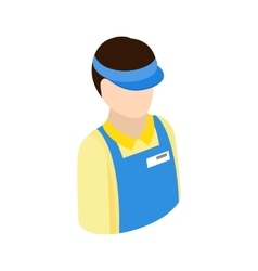 Cashier in supermarket icon isometric 3d style vector
