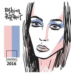Fashion hand drawn portrait vector