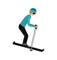 Male athlete practicing ski isolated icon design vector