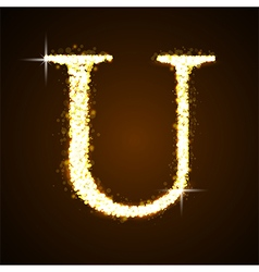 Alphabets u of gold glittering stars vector