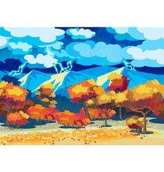 Autumn forest in the storm vector