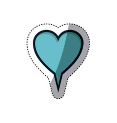 Blue sticker heart shape dialog box vector