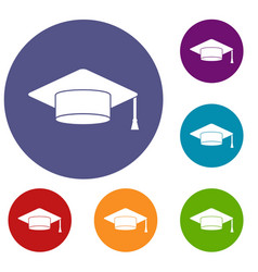 cap student icons set vector image