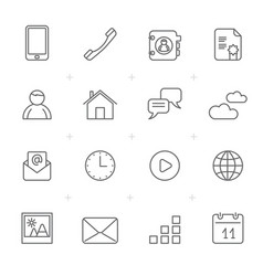 Communication connection and mobile phone icons vector