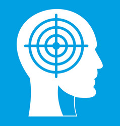 Crosshair in human head icon white vector