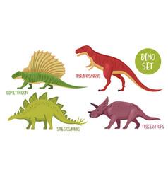 dinosaur species icon set vector image