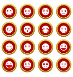 Emoticon red circle set vector