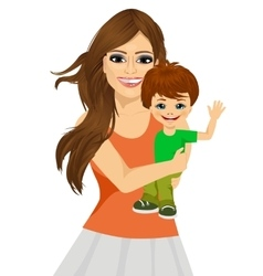 friendly young mother with her little baby vector image vector image