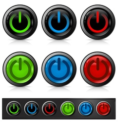 glossy power buttons vector image vector image