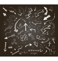 Hand drawn arrows icons set on a chalkboard vector image