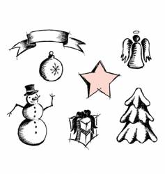 hand drawn Christmas icons vector image