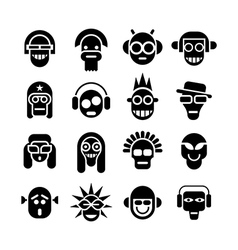 head icons vector image vector image
