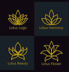 lotus flower logo assorted icons set vector image vector image