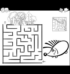 Maze with hedgehog coloring page vector