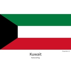 National flag of Kuwait with correct proportions vector image vector image