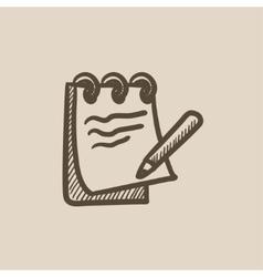 Notepad with pencil sketch icon vector image