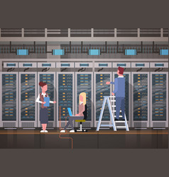 People working in data center room hosting server vector
