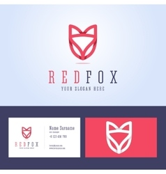 Red fox logo and business card template vector