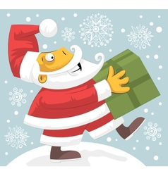 Santa Claus bringing present vector image vector image