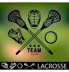 Set of vintage lacrosse labels and badges vector