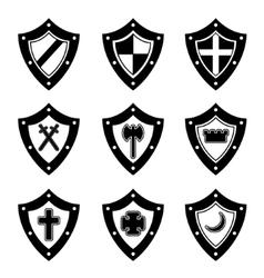 Shields black set vector image vector image