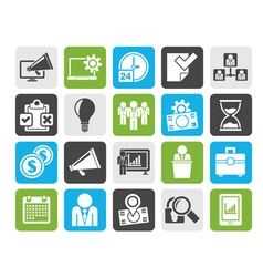 Silhouette business management concept icons vector