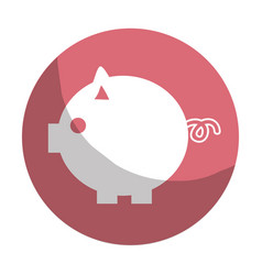Sticker nice pig to save coin currency vector