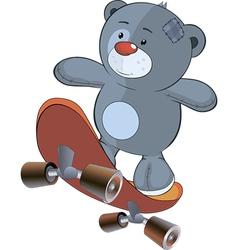 The stuffed toy bear cub and skateboard cartoon vector image