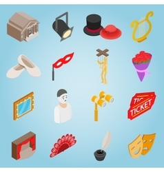 Theatre set icons isometric 3d style vector