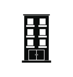 Three-storey house black simple icon vector image vector image
