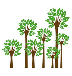 Trees with stem in form hand icon vector